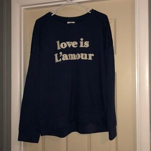 """Old Navy Sweaters - Old Navy """"Love is L'amour"""" navy blue crewneck"""